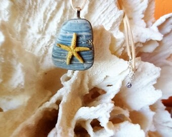 Starfish on a bit of Seashell  Pendant Necklace by Beach Candies