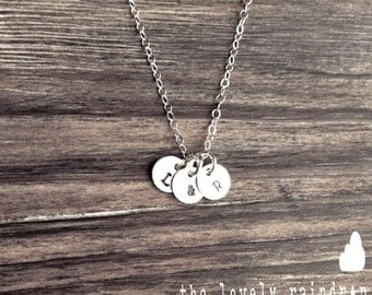 """Wholesale - Customized Sterling Silver Necklace - Hand Stamped 1/4"""" Initial - Personalized Custom Disc - Name Necklace Initials Custom"""