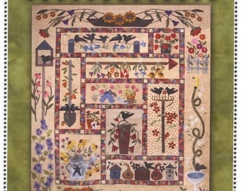 A Primitive Garden BOM Sampler Wool Applique Primitive Gatherings Quilt Pattern