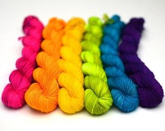 Rainbow mini skeins - Hand dyed mini sock yarn skeins