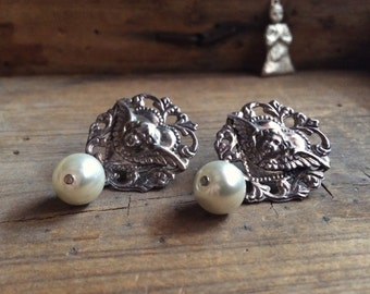 Vintage angel milagro earrings sterling silver pearl, angel milagro, guardian angel jewelry religious, Mother's Day gift for her, angel love