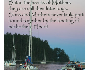 Sailboats at sunset with Mother and Son poem fabric panel