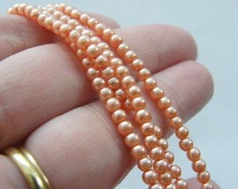 210 Peach imitation pearl glass 3mm beads B141
