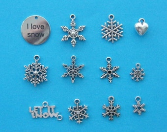 The I love snow collection - 12 different antique silver tone charms