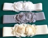 Chiffon Flower cinch belt Wide elastic stretch corset belt, White stretch belt, Ivory stretch belt, Gray stretch belt, one size