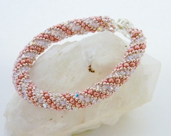 RUSSIAN SPIRAL RS006-Swarovski Crystal AB Crystals/Pink Seed Beads Bracelet