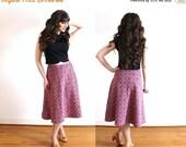 ON SALE 60s Skirt / 1960s Merlot Plaid Knit Skirt