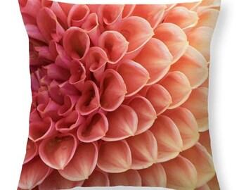 Peachy Dahlia Throw Pillow - home decor, dorm decor, square or lumbar, floral cushion, pillow cover, made to order, home accessories
