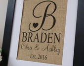 Free  US Shipping...Personalized Rustic Wedding Burlap Print. Unique wedding, engagement or anniversary gift!