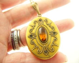Citrine Glass Locket - Gold Filled - Wedding Jewelry - Victorian - Antique