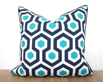 Blue throw pillow cover 18x18 indoor outdoor use, blue and white cushion for outside bench beach house decor, blue and teal outdoor pillow