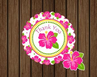 Hibiscus Luau Favor Tag, Hibiscus Birthday, Summer Tag, Hibiscus Instant Download