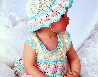 Vintage Knitting Pattern PDF Baby Summer Sun Dress and Sun Hat 4ply Fingering