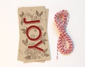 10 Joy Hand Illustrated Holiday Gift Tag Set with Baker's Twine