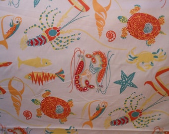 FUN FISH TROPICAL fabric ,drapery upholstery fabric,Vibrant yellow aqua red cotton, 3.5 yrd. piece,35-10-24-0813FF
