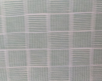 Spermint Green Deep Cream SQUARES WOVEN COTTON Upholstery Fabric,14-44-09-0211
