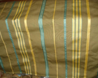 Olive Green Yellow Aqua WOVEN STRIPE Upholstery Fabric, 26-17-13-0810