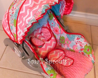 Spring Floral/Pink Minky Dot infant baby 5 piece car seat cover set