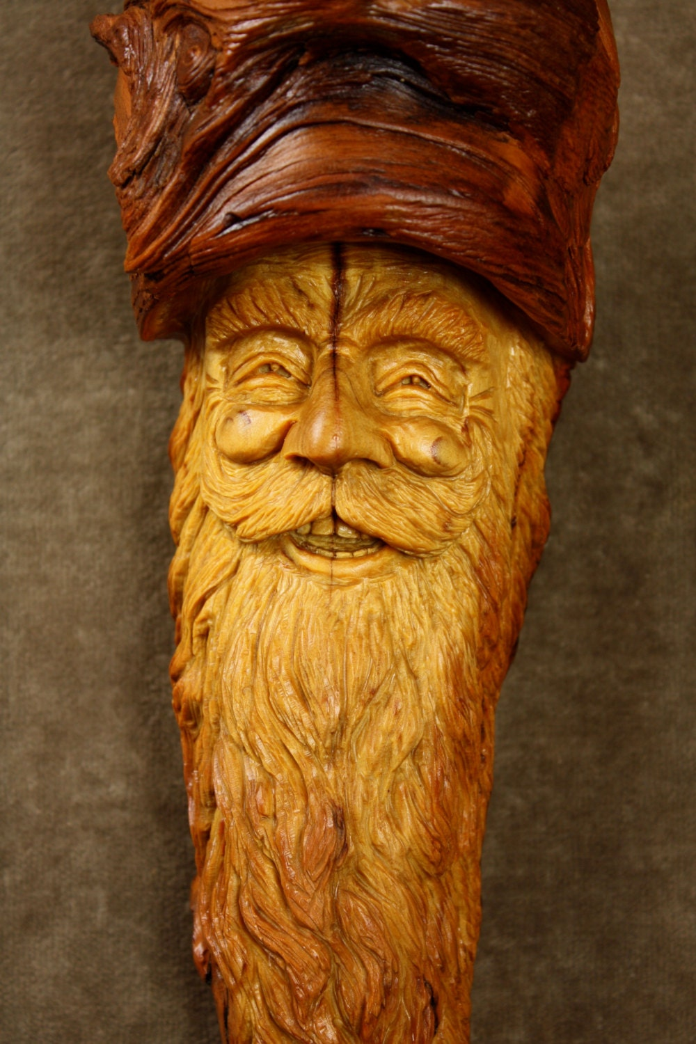 A face wood carving spirit christmas by