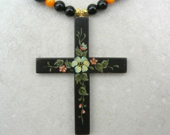 SALE - 50% off, Traditional Russian Wood Cross, Hand-Painted, Floral Design, Coral/Crystal/Onyx Beads, Easter, Necklace Set by SandraDesigns