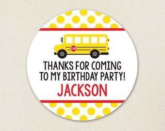 School Bus Party Favor Stickers - Sheet of 12 or 24