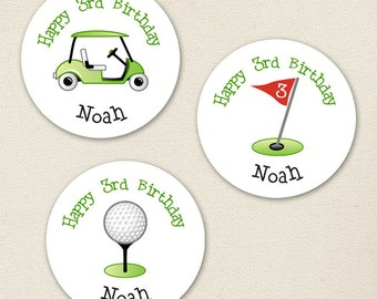 Golf Party - Custom Stickers - Sheet of 12 or 24