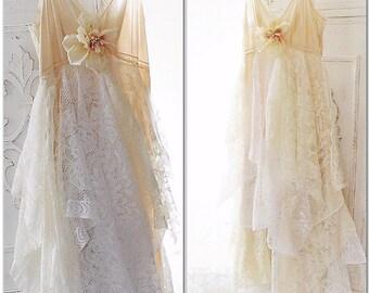 Romantic boho maxi dress, boho Bridal sundress, Bohemian french country lace dress, Creme brulee, cottage chic sundress, True rebel clothing