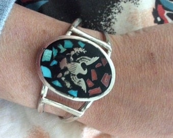 Vintage Silver Dollar Turquoise Coral inlay Cuff Bracelet