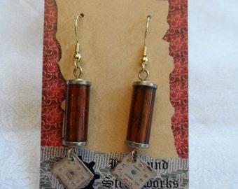Brown Barrel Time Earrings