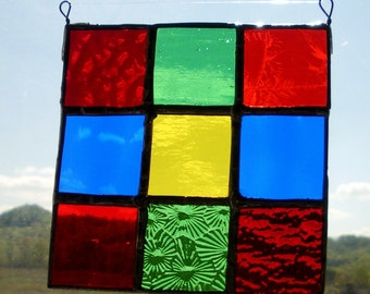 Stained Glass Quilt Square, Postage Stamp, Primitive
