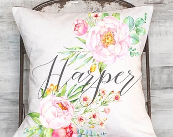 Personalized Cottage Rose Farmhouse Floral Pillow Cover