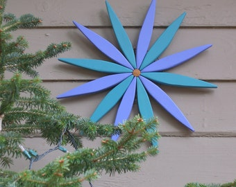 """Blue and Teal 17"""" Starburst Hanging Garden Art Wreath for Outdoor and Indoor Decor - Outdoor Wall Art Handcrafted by Laughing Creek"""