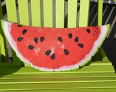 "WATERMELON hand painted pillow 8.5"" x 19"" double-sided summertime beach picnic all weather Crabby Chris™ Original"