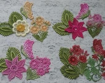 Venise Lace Crazy Quilt Hand Dyed Applique Embellishment Kit