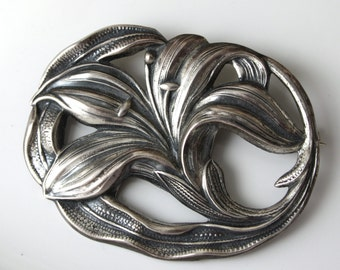 Vintage Sterling By JEWELART Flower Brooch