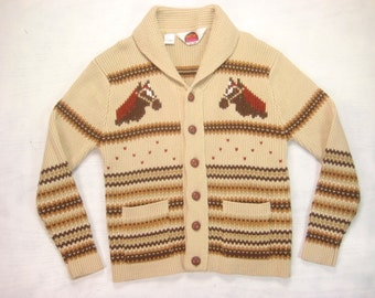 1970s Horse Shawl Collar Cardigan Vintage Retro Mens Miller Brand Beige Striped  Chunky Acrylic Country Western Sweater Size Large