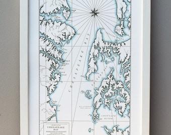 Chesapeake Bay, Maryland, Letterpress Map Art Print (Dark grey)