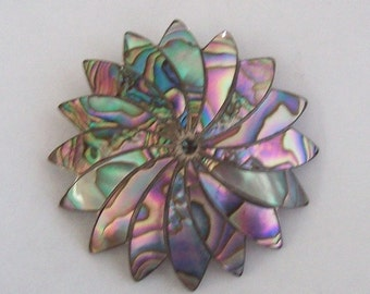 Abalone Shell Mexican Sterling Silver Brooch Pendant