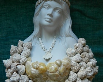 Seashell encrusted bust shell covered statue woman mermaid ocean beachy boho beach house white cream