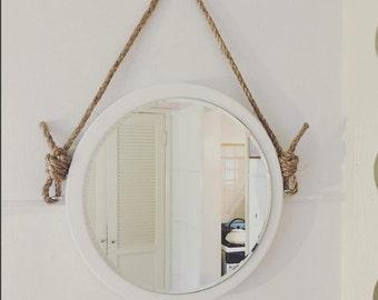 "16"" Round Mirror. Nautical Mirror. Boathouse Mirror. Natural Rope. Summer Beach House. Ocean Decor."
