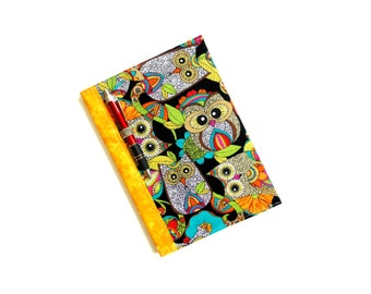 Owl journal notebook, fabric covered composition notebook, back to school, colorful, college student supply, owl fabric
