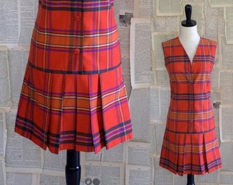 Vintage 1960s Dress 60s Red Plaid Sleeveless Drop Waist Sleeveless Dress Womens Extra Small