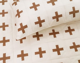 Giant Throw Blanket-Winter Gift Wife-Swiss Cross Coverlet-Swiss Army Blanket-Bedspreads-Boho Decor-King Size Blanket-Cotton Anniversary