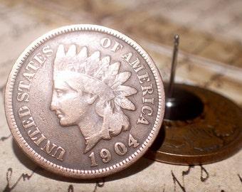 Penny coin Earrings Vintage copper Indian Head penny coin Stainless Steel Stud Earrings (post Earrings)