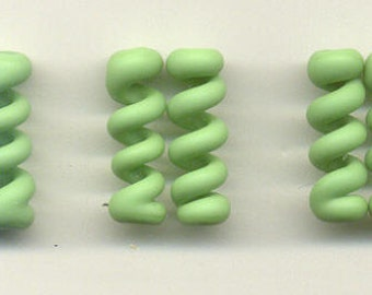 Tom's lampwork opaque satin (etched) frosted nile green twist cylinder, drops, spacers 20mm, 2 beads, 1 pair, 96822-2