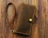 PERSONALIZED leather Wristlet iPhone 6 6s wallet case mobile wallet / retro distressed leather iPhone 6 6s plus wallet case cover  IP05MW-B