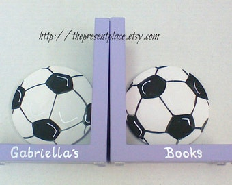 Girls Soccer bookends,Girls sports bookends,sports bookends,girls soccer,personalized,kids bookends,girl gift,personalized sports gift