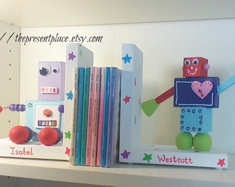personalized robot bookends,space theme,space nursery,personalized bookends,robot bookends,girls bookends,kids bookends,childrens bookends