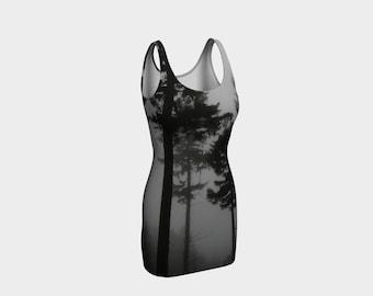 Conifer Tree Fitted Dress, Nature Tree Clothing, Tight Body Dress, Bodycon Dress, Tank Dress, XS, S, M, L, XL
