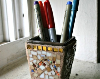 Small Mosaic Pot, Light Brown and Gold - 3 Inches
